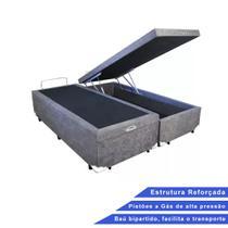 Base Box Baú Queen Bipartido Suede Cinza (32x158x198) - Outlet Sofás E Colchões