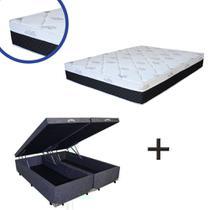 Base Box Baú Queen Bipartido Suede Cinza 37x158x198 + Colchão Veneza Molas Ensacadas Umaflex 24x158x198 -