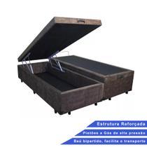 Base Box Baú Queen Bipartido Suede Marrom (32x158x198) - Outlet Sofás E Colchões