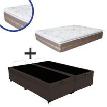 Base Box Baú Queen Bipartido Suede Marrom 37x158x198 + Colchão Coimbra Molas Ensacadas Umaflex 33x158x198 -