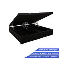 Base Box Baú Queen Bipartido Suede Preto (32x158x198) - Outlet Sofás E Colchões