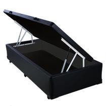 Base Box Baú Solteiro AColchões Sintético Preto 49x88x188 -