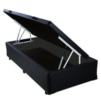 Base Box Baú Solteiro Belos Sonhos Sintético Preto 41x88x188 -