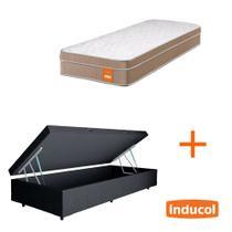 Base Box Baú Solteiro Sintético Preto 37x88x188 + Colchão Smart Vanille Inducol com Molas Ensacadas 24x88x188 -