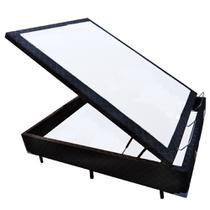 Base Box Baú Viúva Belos Sonhos Poliéster Preto 41x128x188 - Acolchões