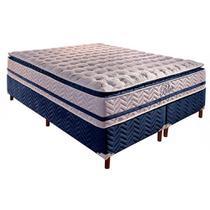 Base Box Bipartida com Colchão Paropas de Molas Pocket Blue com Pillow Top Super King Size 74x203x193 - Estrela Móveis
