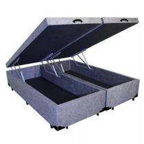 Base Cama Box Baú Bipartido Queen Size Suede Cinza 43x158x198 - Sonho Camas E Móveis