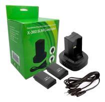 Base Carregador Duplo Bivolt Para Xbox 360 + 2 Baterias - TZ