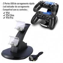 Base Carregador Duplo Para Controle de Playstation Ps4/Slim e Pro Super Premium - Oivo