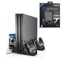 Base Cooler Suporte Vertical Compatível com Playstation PS4 Fat Slim Pró Carregador - Oivo