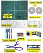 Base De Corte A2 60x45 + Régua 15x60 Cm + Cortador 45 Mm Top - Levolpe