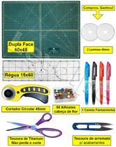 Base De Corte A2 60x45 + Regua 60 + Cortador 45mm + Tesoura - Levolpe