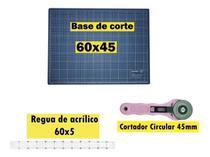 Base De Corte A2 60x45cm Modelo Novo + Cortador + Régua 60cm - Realiza Costura