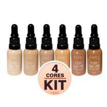 Base Fand Fluída Matte - Kit com 4 Bases Fluid Skin Pro 30ml Resistente a Água Base Vegana - Fand Makeup