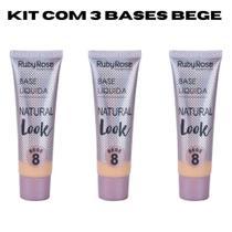 Base líquida Ruby Rose Natural Look Bege 2 ao 8 HB - 8051 Kit c/3 -