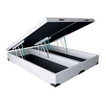 Base para Cama Box Queen Premium com Baú (45x158x198) Corino Branca - Mobly