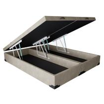 Base para Cama Box Queen Premium com Baú Suede Bege - Mobly