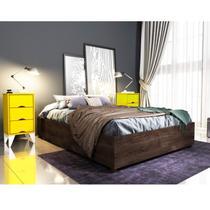 Base para Cama Casal e 2 Mesa de Cabeceiras 3 Gavetas Virginia Espresso Móveis Cumaru Rustic/Amarelo -