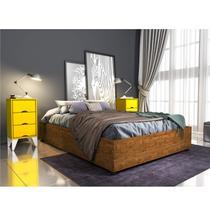 Base para Cama Casal e 2 Mesa de Cabeceiras 3 Gavetas Virginia Espresso Móveis Imbuia Rustic/Amarelo -