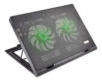 Base Para Notebook 2 Power Cooler Led Verde Warrior AC267 -