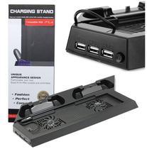 Base Vertical Cooler Compatível Com PlayStation 4 Fat Carregador 2 Controle - Techbrasil