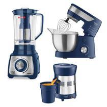 Batedeira Planetária + Liquidificador + Extrator de Sucos Turbo Premium Inox Blue Ichef Polishop e GANHE R 129 de Desconto -