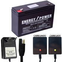 Bateria 6v 12ah Carregador Led 6v 900mah Bandeirantes Moto Carrinho Eletrico Bivolt - FORTIM BATTERIES