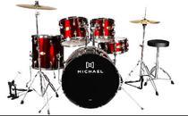 Bateria Acústica Michael Audition DM827N com Bumbo de 20 Vermelho -