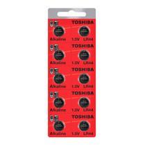 bateria alcalina LR44 -A76 - AG13 Toshiba 1,5 volts cartela com 10 baterias -