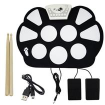 Bateria Elêtronica Musical Silicone Digital Roll Up Drum Kit 10 Pads 2 Pedais Baqueta KH-W758 Preta