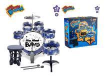 Bateria Infantil 05 Tambores com Banquinho Pedal Band Azul - Original - Zoop Toys
