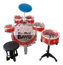 Bateria Infantil 05 Tambores com Banquinho Pedal Band Cor Vermelha - Original - Zoop Toys