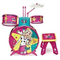 Bateria Infantil Barbie Fabulosa Com Banco F0004-7 Fun -