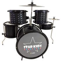 Bateria infantil preta completa Luen Star Kids 44000PT Acústica c/ pratos e banco -