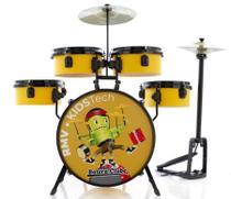 Bateria Infantil RMV Kids Tech Completa Amarela com Pratos, Banco e Baquetas by Batera Clube - Rmv Drums