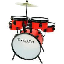 Bateria Infantil RMV Rock Kids com Banco Prato e Baquetas -