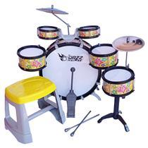 Bateria Musical Infantil 6 Tambores 2 Pratos C/ Banco - JAZZ DRUMM