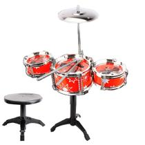 Bateria Musical Infantil Brinquedo c/ Banco Instrumento Word - Toy King