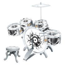 Bateria Musical Infantil C/ Banquinho Tambor Pedal Baquetas - DM Toys