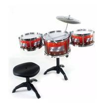 Bateria Musical Infantil com 3 tambores+ Banqueta - Toys