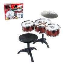 Bateria Musical Rock Com Banqueta Na Caixa - Wellmix