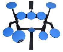 Bateria Praticável de Estudo e Treino com 10 Pads - Azul - Com Estante para Celular /Tablet - Sienmpre Music
