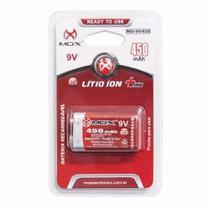 Bateria Recarregável Mox 9v de Lítio ion 450 mAh Alta Duração Microfone Violão Original Rtu MO-9V450 -