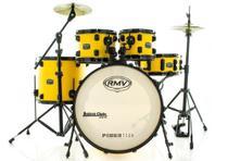 Bateria RMV FiberTech Amarela 20,10,12,16 com Pratos, Baquetas e Ferragens (Exclusiva) - RMV Drums