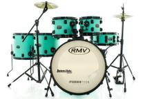 Bateria RMV FiberTech Verde Mar 20,10,12,14,16 com Pratos, Baquetas e Ferragens (Exclusiva) - Rmv Drums