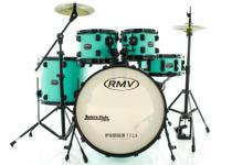 Bateria RMV FiberTech Verde Mar 20,10,12,16 com Pratos, Baquetas e Ferragens (Exclusiva) - Rmv Drums