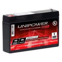 Bateria Selada Estacionária VRLA 6V 7,2Ah Unipower UP672 Alarme Brinquedo Luz -