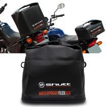 Baú Bauleto Moto 42 Litros Dobrável Shutt Universal Bauflex Bagageiro Flexível Lona PVC Preto -