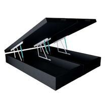 Baú Box King Bipartido - eShop Casa - Couro Preto - e-Shop Casa