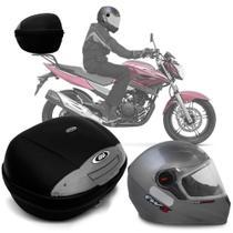 Baú Givi Moto 45l Lente Fumê + Capacete Prata C/ Vermelho -